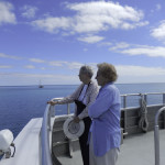 "Miriam Daly and Erma Turner admire the ocean views while underway on the ""Yankee Freedom"" ferry from Key West to the Dry Tortugas."