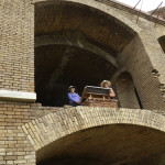 Barb Stowell and Alice Cook enjoy the view from a top floor in Fort Jefferson.