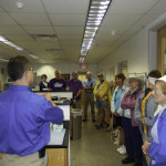 The group was treated to a visit to the lab facilities in a behind-the-scenes visit to SeaWorld Adventure Park in Orlando. Here the group learned of the massive work required to maintain the environments of the aquarium's facilities and the task of monitoring and maintaining animal health.